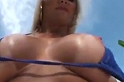 Busty Bikini Babes Play And Show Her Big Tits at Beach
